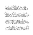 funny aliens collection sketch for your design vector image vector image