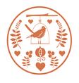 Round fantasy design with birds vector image