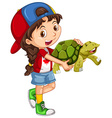 Little girl and green turtle vector image