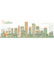 Abstract Boston Skyline with Color Buildings vector image