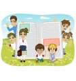 kids playing on the field next to giant book vector image