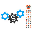 business gears icon with love bonus vector image