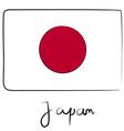 Japan flag doodle vector image