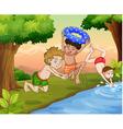 kids swimming vector image