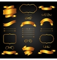 Set of golden arrows ribbons and labels in retro vector image