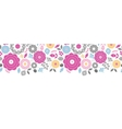 Vibrant floral scaterred horizontal seamless vector image