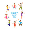 enjoy your life happy children jumping isolated vector image vector image