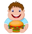 Fat boy cartoon smiling and ready to eat a big ham vector image vector image