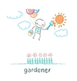 gardener draws sun flower vector image vector image