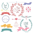 Wedding graphic set wreath flowers arrows vector image vector image