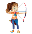 A young woman playing archery vector image vector image
