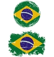 Brazilian round and square grunge flags vector image vector image
