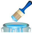 bucket full of paint and convenient rounded brush vector image