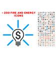 business idea bulb icon with bonus flame set vector image