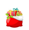 christmas bag with presents gift boxes and holly vector image