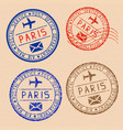 collection of paris postal stamps partially faded vector image