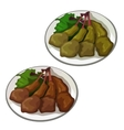 Delicious roasted duck legs food vector image