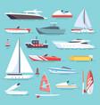 sea boats and little fishing ships sailboats flat vector image