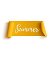 Summer yellow curved ribbon vector image