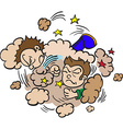 two boys fighting in a cloud of dust vector image