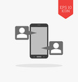 Mobile phone chatting icon Flat design gray color vector image