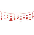 background with hanging christmas ornaments vector image