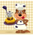 cat chef prepare cake vector image