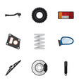 flat icon parts set of metal input technology vector image