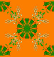 flower pattern seamless on orange green and vector image