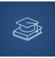 Graduation cap laying on book line icon vector image