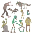 Scary Zombies Outlined Stickers vector image