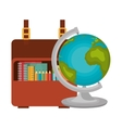set globe and bag school icons design vector image