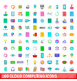 100 cloud computing icons set cartoon style vector image