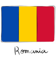 Romania flag doodle vector image vector image