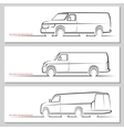 Set of delivery van silhouettes vector image