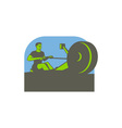 Rower Rowing Machine Half Circle Retro vector image