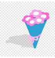 bouquet of pink flowers isometric icon vector image