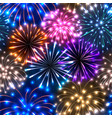 seamless pattern with colorful fireworks vector image