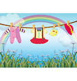 A garden with hanging baby clothes vector image