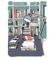 modern interior home library bookshelves hand vector image