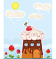 cup cake house vector image vector image