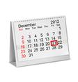 Desktop calendar 2012- December vector image