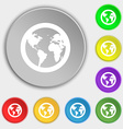 Globe icon sign Symbol on eight flat buttons vector image