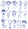 Silhouette of kids vector image
