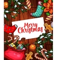 Merry Christmas holiday sketched poster design vector image vector image