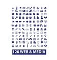 120 media  web icons set vector image