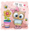 cute cartoon owl with flower vector image