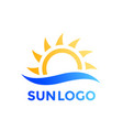 sun and wave logo element vector image