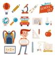 School Icon Set Graphic Designs on White vector image vector image