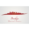 Brooklyn skyline in red vector image vector image